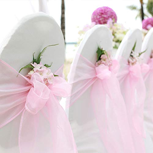 TINWARM 100PCS Nubans en Organza Housse de Chaise Nœuds Rubans Nœuds de Mariage Décoration de Ceremonie Fête Anniversaire 18 x 275cm (Rose clair)