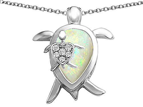 Original Star K(tm) Large Mother and Baby Turtle family Pendant with 12x8mm Pear Shape Created Opal in 925 Sterling Silver: Star K