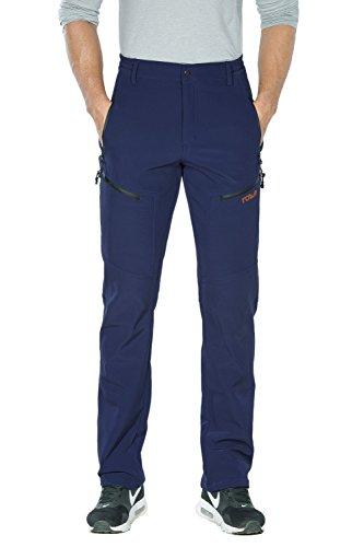 Nonwe Men's Warm Windproof Zipper Pockets Snow Pants Fleece Mountain Hiking Ski Trip
