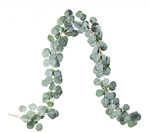 Youthny 6.6FT Artificial Eucalyptus Garland Leaves Vines Faux Silk Plants Eucalyptus Greenery Wreath Garland Wedding Party Home Decor