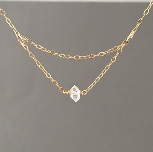 Tiny delicate gold filled necklace with single Herkimer diamond