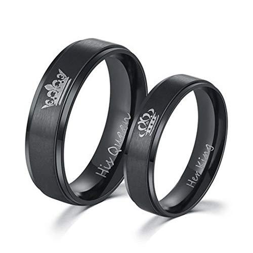 DDDDMMMY Anillos punk, color negro, simple, personalizable, para parejas, estilo casual, para su rey y su reina, para hombres y mujeres, el mejor regalo de moda para aniversario de boda, reina, 8