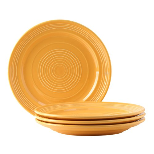 Tuxton Home Concentrix Dinner Plate (Set of 4), 10 1/2', Saffron Yellow; Heavy Duty; Chip Resistant; Lead and Cadmium Free; Freezer to Oven Safe up to 500F
