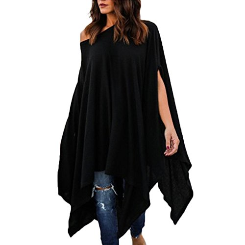 VEMOW Sommer Herbst Elegante Damen Frauen Plus Size Beiläufige Bluse Unregelmäßiges Hemd Täglich Party Strand Geschäft Arbeit Flügelhülsen Tops(Schwarz, 50 DE/XL CN)