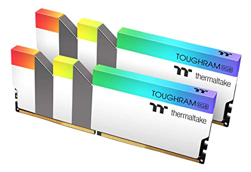 Thermaltake TOUGHRAM RGB White DDR4 4400MHz 16GB (8GB x 2) 16.8 Million Color RGB Alexa/Razer Chroma/5V Motherboard Syncable RGB Memory R022D408GX2-4400C19A