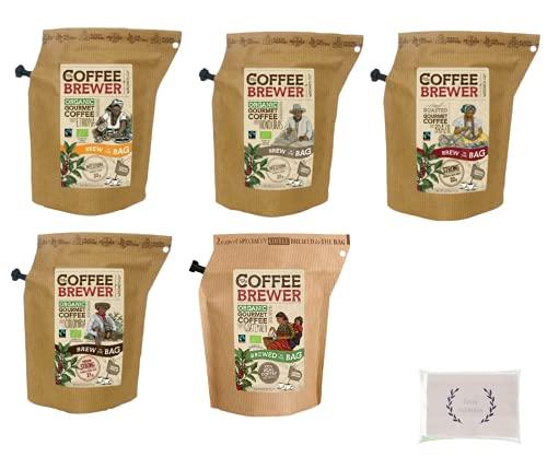 コーヒー Coffee Brewer(コーヒーブリューワー) 5種セット フレンチプレスやドリップのような品質とインスタントのような手軽さ キャンプ などにも大活躍 (コロンビア/ブラジル/ホンジュラス/エチオピア/グアマテラ)  オリジナルペーパータオル(4枚重ね8枚入)