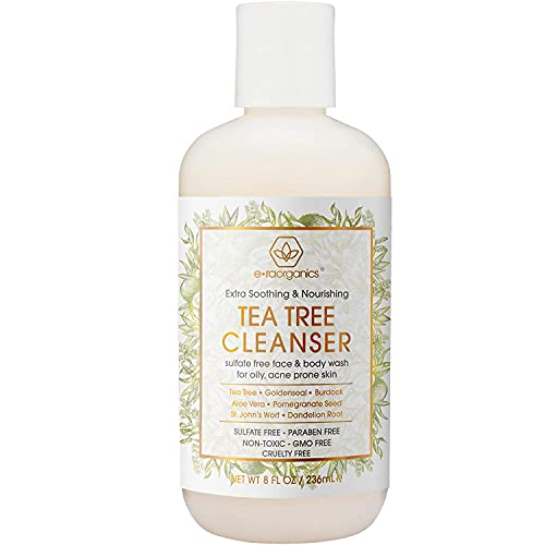 Era Organics Tea Tree Oil Face Cleanser – Soothing Face & Body Wash for Oily, Combo, Acne & Rosacea Prone Skin Care - Sulfate Free Facial Wash to Moisturize, Nourish, Soothe Redness & Irritation
