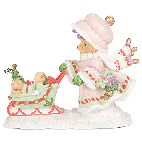 Roman 133472 Donna 2020 Dated Figurine with Sleigh Cherished Teddie, 4 inch, Multicolor