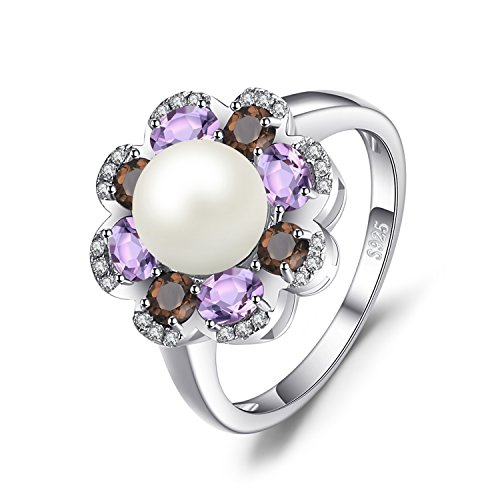 JewelryPalace 7Mm Kultivierte Perle 1ct Echte Rauchquarz Amethyst Cluster Ring 925 Sterling Silber