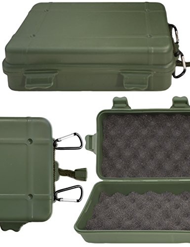 Outdoor Saxx® - opslaghoes, hardcase, camera-hoes met 2 x karabijnhaak, gevoerd, stofdicht, schokbestendig, spatwaterdicht, voor camera, mobiele telefoon, uitrusting, 19 x 11 cm olijfgroen
