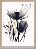 ポスター ジュディス マクミラン Lotus and Grasses 額装品 ウッドベーシックフレーム(オフホワイト)