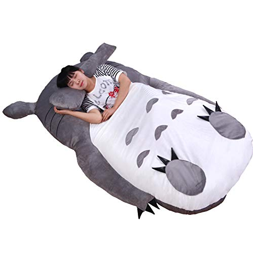 VIVICL Tatami Matratze Anime Totoro Plüschbett mit Polsterung Riesencouch Doppel Cartoon Tatami Matratze Kreatives Schlafzimmer Kinder Erwachsene Schlafmatte,170 * 200cm