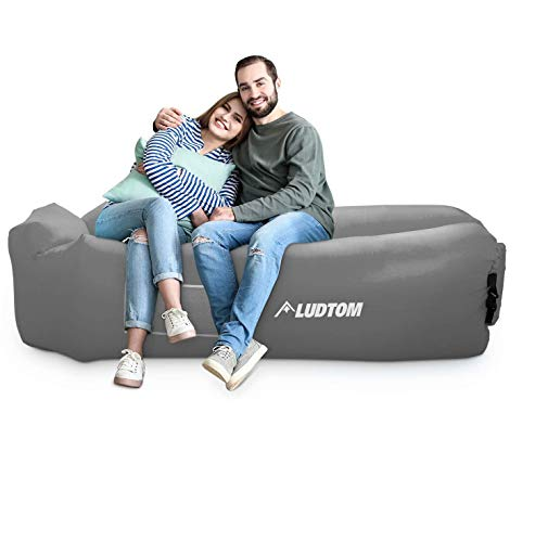 LUDTOM Inflatable Lounger Air Sofa Hammock, 440 lb Portable and Waterproof Ideal Inflatable Pouch Couch for Camping Gear and Accessories for Outdoors Pool Backyard Traveling Gray