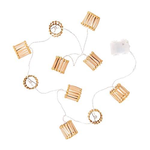 Butlers Bamboo Lights - Lichterkette Bambus 10 Lichter - Beleuchtung aus Bambus - Boho-Style
