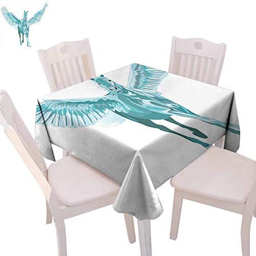 Caballo Decor - Mantel cuadrado para camping, diseño de caballo con alas abiertas (137 x 137 cm), color turquesa y blanco