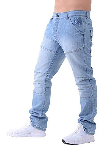 CrossHatch Herren Woodel Gerades Bein Denim Freizeit Jeans - Helle Waschung, Größe - 44 - Bund - Kurz