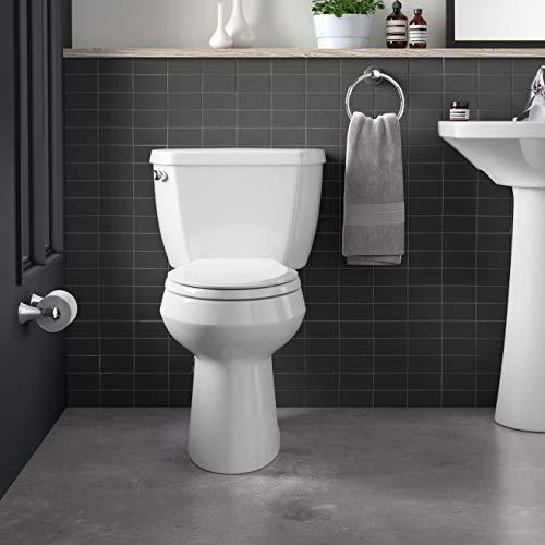 Kohler K-3493-0 Highline Classic Pressure Lite Comfort Height Elongated 1.6 gpf Toilet with Left-Hand Trip Lever, Less Seat, White