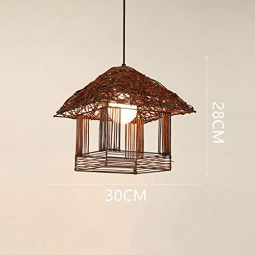 UON Gzz Deng Home buitenverlichting hanglamp schaduw industriële hanglamp kroonluchter gevlochten rotan 30 x 28 cm bruin woonkamer restaurant slaapkamer verlichting