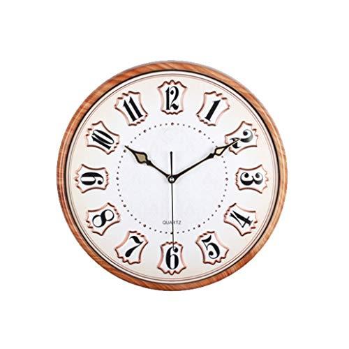 TIANYOU Reloj 17 Pulgadas de Pared Moda Simple Imitación Madera Grano Redondo Pared Sala de Estar Dormitorio Moderno Casero Cuarzo Mudo decoración hogareña/Style one