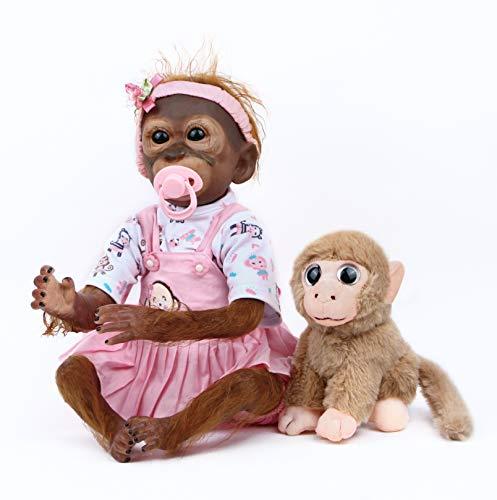 ZIYIUI Reborn Baby AFFE Puppe 21 Zoll 52 cm Reborn Puppe mit Tuch Körper Lebensechte Babypuppe Realistische AFFE Puppe mit Kuscheltier