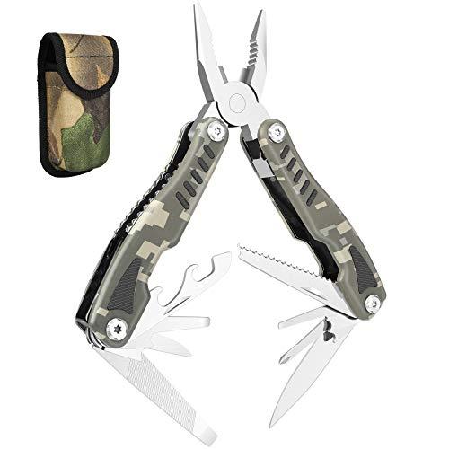 GVDV 14 IN 1 Multitool, Taschenwerkzeug Multifunktionstool Edelstahl, Multifunktionale Zange Faltbares Plier für Camping, Reparieren Multifunktionswerkzeug