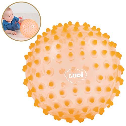 Ludi - Balle sensorielle Orange pour l'éveil de bébé. Adaptée aux Enfants dès 6 Mois. Gros Picots Tendre faciles à mordiller. Balle de Jeu ou de Massage. Diamètre : 20 cm - réf. 2795OR