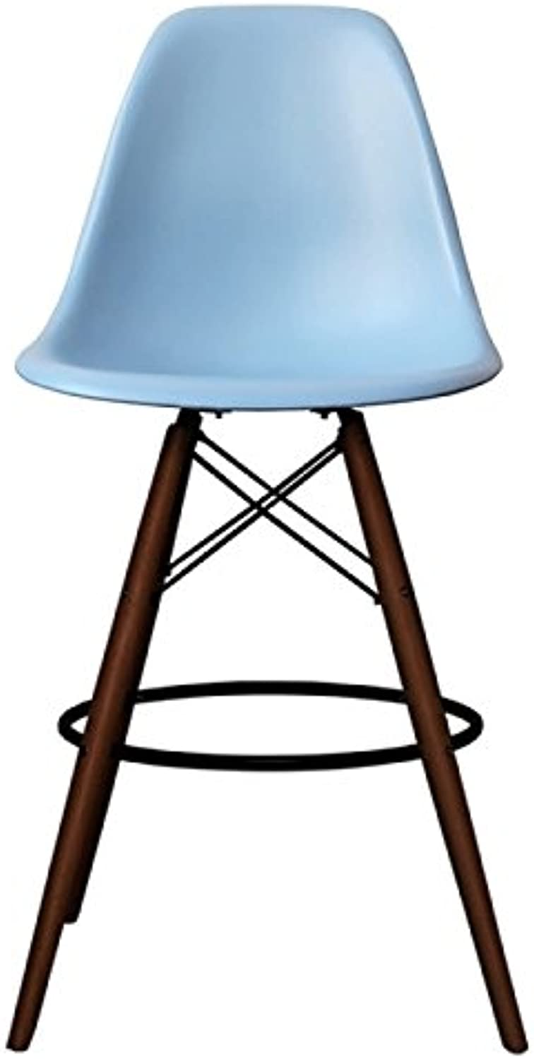 silver Import PC-016WH-BBW Eames Style Eiffel Stool in Baby bluee with Walnut Base