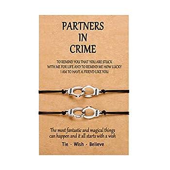 Partners in Crime Handcuff Bracelets BFF Best Friend Matching Friendship Anklet Bracelet Jewelry for 2 Girls Women Men Boys