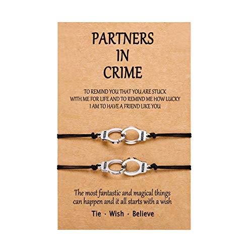 Pulseras para esposas con texto en inglés 'Partners in Crime' de BFF Best Friend', pulsera tobillera de amistad para 2 niñas, mujeres, hombres y niños
