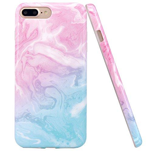 JIAXIUFEN iPhone 7 Plus Hülle, Rosa Blau Marmor Flexible TPU Silikon Schutz Handy Hülle Handytasche HandyHülle Schale Case Cover Schutzhülle für Apple iPhone 7 Plus/iPhone 8 Plus