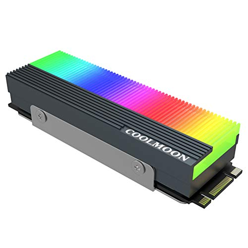 Sendnew 5V ARGB M.2 Heatsink SSD Aluminum Cooler for PCIE NVME NGFF or SATA 2280 M.2 SSD, Motherboard synchronous addressable LED RGB Lights, with Silicone Thermal Pad (SSD not Included) Gray