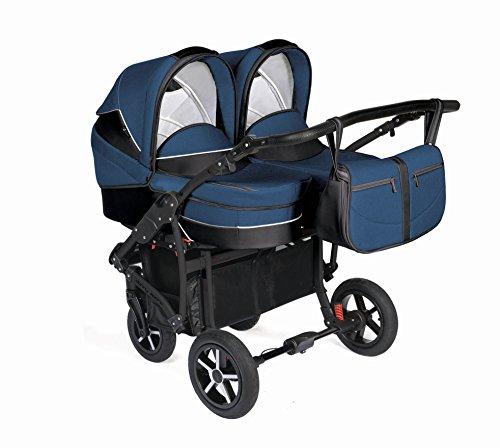 Dorjan Twin Linen Moderner Zwillingskinderwagen (Seite-an-Seite) Kombikinderwagen Duo Buggy Kinderwagen + Wickeltasche + Regenschutz + Insektenschutz + Adapter