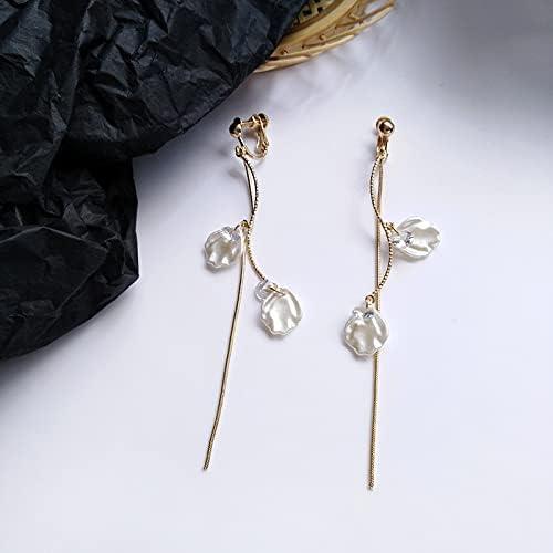 Korean Style Summer Resin Shell Long Clip on Earrings No Hole Simple Petals Shell Rhinestone Line Tassel Ear Clip on Earrings