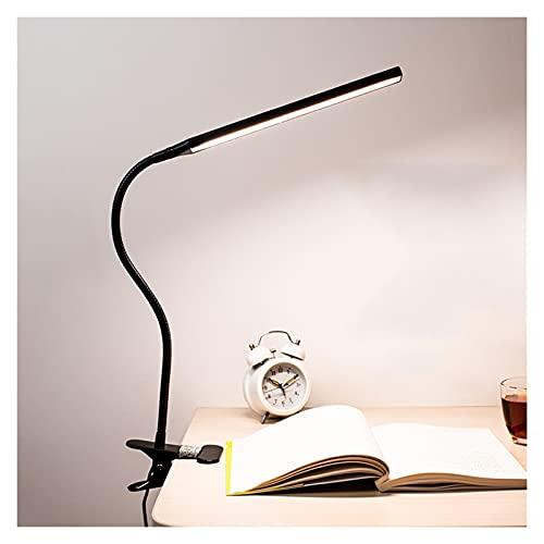 Lámpara de escritorio LED con sujeción de la abrazadera / enchufe en lámpara regulable 3 Modos de color y lámparas de recepción de atenuación de escala para la oficina en casa con puerto de carga USB