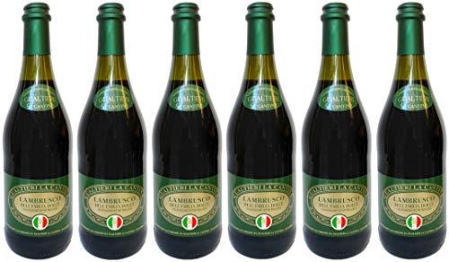 Lambrusco rosso dolce Gualtieri Dell`Emilia IGT mit Korkverschluss (6 X 0,75 L) - Vino Frizzante - Roter Süßer Perlwein 7,5% Vol. aus Italien