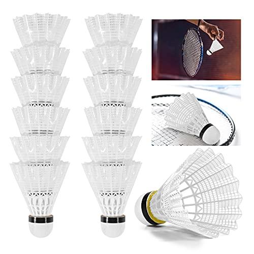 Dereine Federbälle Badminton Bälle Shuttlecock Badminton Ball Mit Hoher Stabilität und Haltbarkeit, großer Elastizität Nylon für Indoor & Outdoor Training, Unterhaltung, Bewegung & Wettkampf