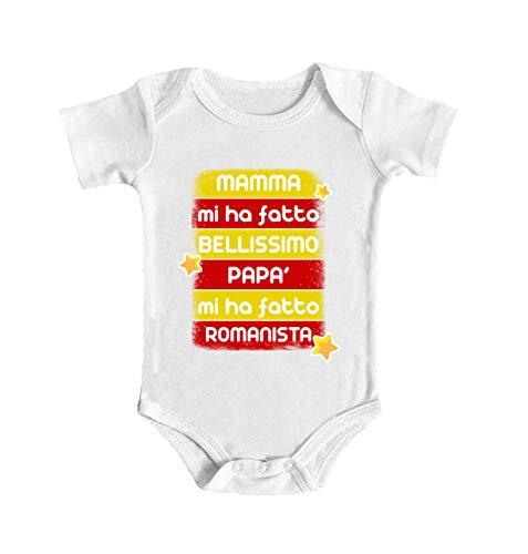 Body de bebé para bebé de Roma – Mamá Mi ha fatto Bel – Padre Mi ha fatto Romanista – Body de bebé amarillo – Body de bebé de manga corta – Idea de regalo blanco 0- 6 meses