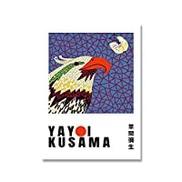 KAKYD 草間彌生鳥の花のポスターとプリントウォールアートキャンバス絵画リビングルームの装飾のための壁の写真40X60Cmx1フレームなし