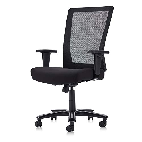 CLATINA Big and Tall Executive Chair Ergonomic with 400lbs High Capacity Adjustable Armrest and Breathable Mesh Back for Home Office Black BIFMA Certification No. 5.11 (1 Pack)