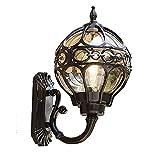 Chao Zan Applique per esterno, in alluminio pressofuso in nero con vetri trasparenti,lampadina con attacco E27 max. 60 Watt. IP44.tile vintage Illuminazioni per pareti ,portico Padiglione terrazza