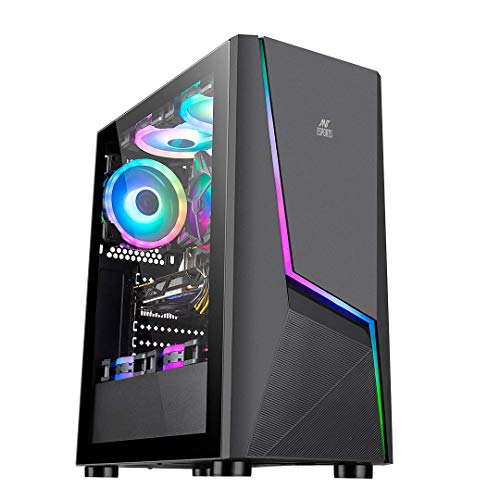 Ant Esports ICE-130AG Mid Tower Computer Case I Gaming Cabinet Supports ATX, Micro-ATX, Mini-ITX Motherboard with Transparent Side Panel 1 x 120 mm Rear Fan Preinstalled - Black