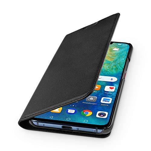 WIIUKA Echt Ledertasche - TRAVEL - für Huawei P30, mit Kartenfach, extra Dünn, Tasche Schwarz, Leder Hülle kompatibel mit Huawei P30