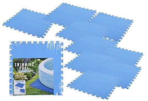 Pool Unterlage 50x50 cm in blau - 9 Stück / 2,13 m² - Bodenschutz Matte Unterlegmatte mit Stecksystem - Fitnessmatte Spielmatte