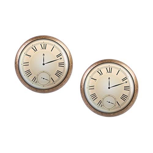 Mylery Ohrstecker Paar mit Motiv Taschen-Uhr Ziffernblatt Fake Unecht bronze 12mm