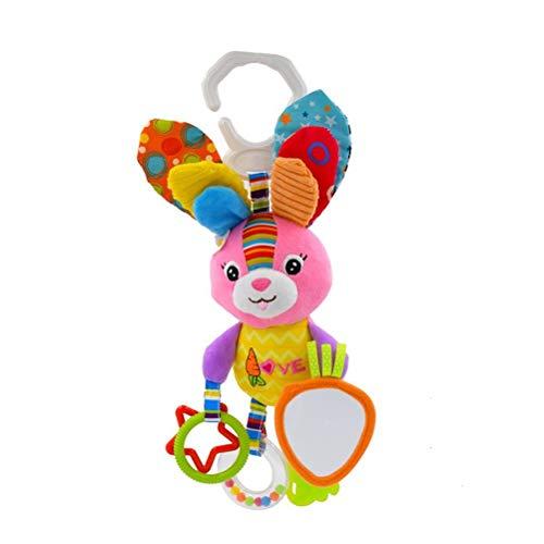 Bebé bebé peluche juguetes niños cochecito colgando traqueteo conejo peluche juguetes recién nacido bebé cuna cuna cuna cochecito handbells juguetes viento chime pascua conejito conejo ornamento Qingc
