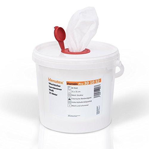klenatex® Wischtücher für Reinigung + Hygiene Vorrein 30 10 Spendereimer/Nachfüllrolle zum Tränken Spunlace/Nonwoven Vliestücher (Spendereimer)