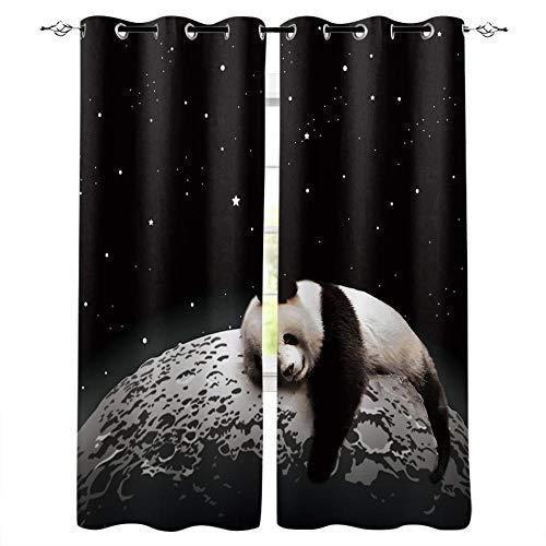 Cortinas Opacas 3D Panda Planet Cortinas con Ojales Dormitorio Habitación Infantil Decoración Moderna Aislante Y Ruido Reducción Poliéster 183X214Cm
