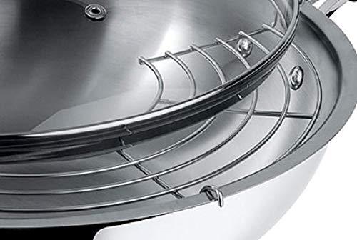 Lagostina Tempra Acero Wok con Tapa de Cristal y Rejilla, diámetro 30cm