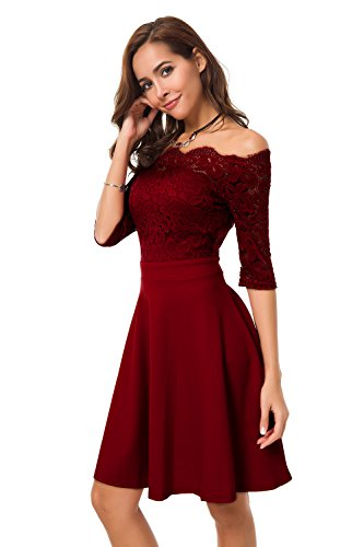 Atnlewhi Womens Vintage Lace Off Shoulder Puffy Swing Dresses Sexy Mini Dress for Party Cocktail,Swing-Wine Red,XL