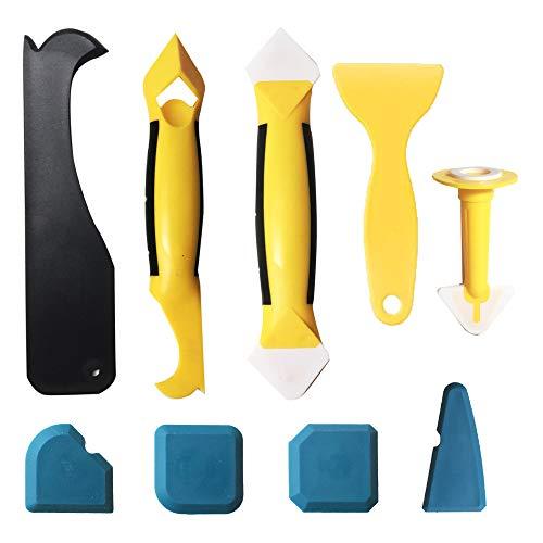 Daymi Silikonentferner, Silikon Fugenwerkzeug Set mit Dichtung Werkzeug/Dichtmittelelentferner/Multifunktionale 9 in 1 Profi Silikon Fugenglätter Schaber Werkzeug für Küche Bad Boden Fliesen